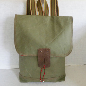 Khaki Green Waxed Canvas  Backpack  with Adjustable by ottobags
