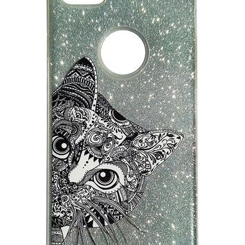 iPhone 6/6s/7/8 Case Aztec Ornate Cute Cat Face Funky Glitter Sparkle Bling Wireless Charging Support High Shock Protection Apple Case Cover Black/Silver