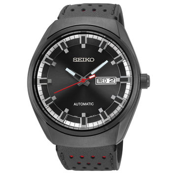 Seiko SNKN45 Men's Watch Automatic Black Dial Black Leather Band