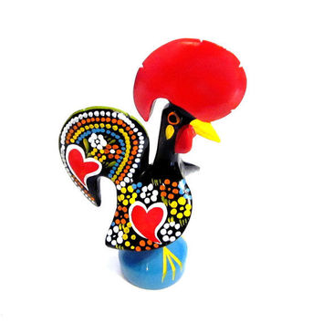 Vintage Portuguese Rooster, Ceramic Tole Painted Chicken Figurine