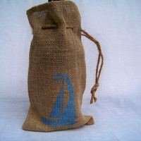 Sailboat Burlap Bag