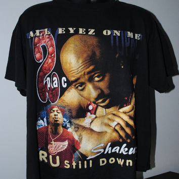 90's Tupac Shakur I Wonder If Heaven Got A Ghetto Vintage Hip Hop T-Shirt - L