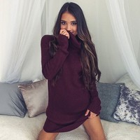 Sexy High-necked Long-sleeved Sweater Dress