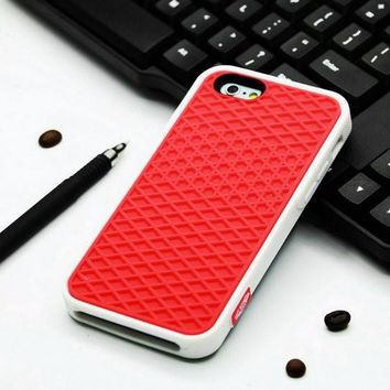 Vans Off The Wall Shoes Sole Soft Rubber Silicone Red With White Cover Case For iPhone 5 5s