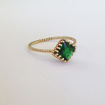 20% off- SALE!! Emerald Ring - Gemstone Ring - Gold Ring - May Birthstone Ring - Square Stone Ring  - Stacking Ring - Simple Ring