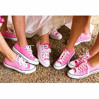 Converse All Star Sneakers canvas shoes for Unisex sports shoes Low-top pink-1