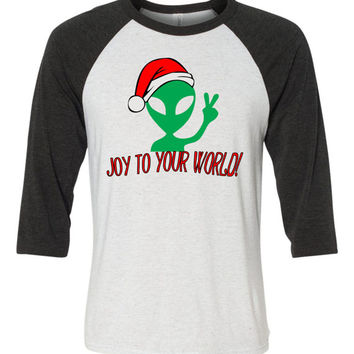 Alien Christmas Baseball Tee