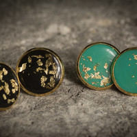 gold stud earrings, resin earrings with gold foil, black and gold foil, turquoise and gold foil, gold leaf, post earrings