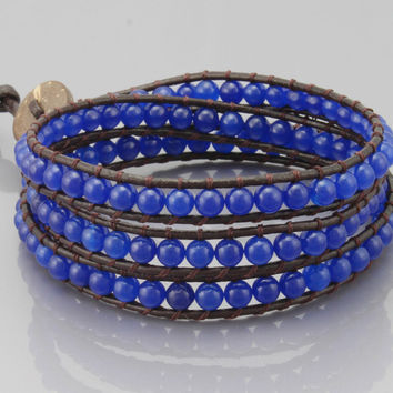 Three Rows Wrap Bracelet in Navy