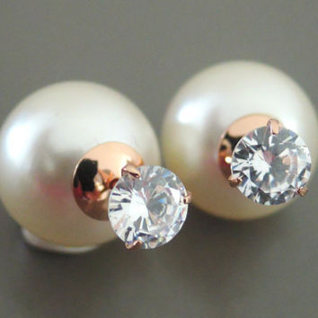 Ear Jackets - Crystal Earrings - Double Sided Earrings - Pearl Earrings - Stud Earrings - Statement Earrings - Post Earrings