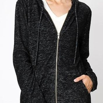 Serena Cozy Knit Hoodie in Black
