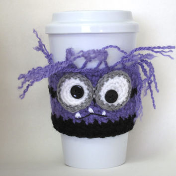 Crocheted Evil Purple Minion Coffee Cup Cozy Handmade