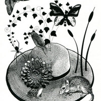 flower straw hat animals butterfly original art print mouse frog black and white