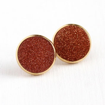 Vintage Goldstone Earrings - 14k Rosy Yellow Gold Aventurine Glass - 1960s Retro Pierced Stud Post Pushback Statement Round Circle Jewelry