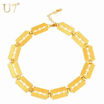 U7 Choker Necklace Blade Razor Link Chain Kpop Cool Men Gift Gold/Silver Color Fashion Necklaces for Women 2017 Statement