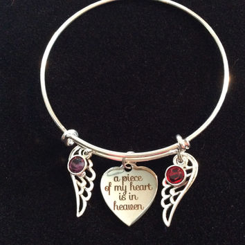 For Mom and Dad A Piece of My Heart is in Heaven Expandable Charm Bracelet Adjustable Wire Bangle