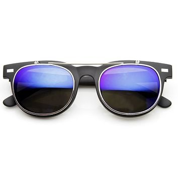 Retro Flash Mirror Flip Up Lens Horned Rim Sunglasses 9123