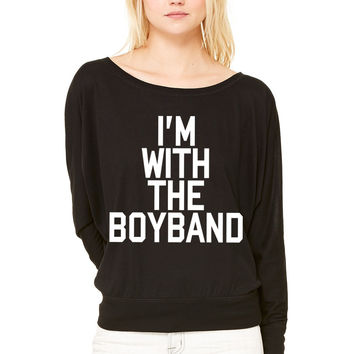 I'm With The Boy Band WOMEN'S FLOWY LONG SLEEVE OFF SHOULDER TEE