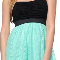 Lunachix Black & Mint Crochet Strapless Dress