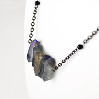 Long Iridescent Quartz Necklace with Black Onyx Boho Hipster Bohemian Necklace Gun Metal Chain Wire Wrapped Purple Iridescent Bocade Jewelr