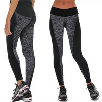 Women Fashion Black And Gray Paneled Plus Slimming Pants Leggings For Running/Yoga/SportS M L XL_trq