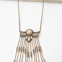 Faux Stone Fringed Necklace