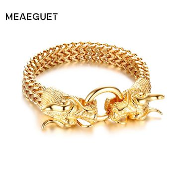 Meaeguet Vintage Punk Street Style Two Dragon Head Bracelet High Quality Stainless Steel Chain Bracelet & Bangles Men Jewelry