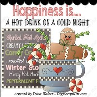 Hot Drink Cold Night 1 Clip Art Single : Digi Scrap Kits Trina Walker (Clark), winter, gingerbread, gingers, Christmas, candy canes, coffee