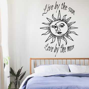 Wall Decals Quotes Sun Moon Crescent Dual Ethnic Stars Night Symbol Sunshine Vinyl Sticker Home Decor Murals Bedroom Interior Design KG667