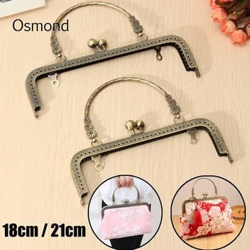 Osmond Vintage Kiss Clasp Lock Arch Frame For Sewing Handbag Purse Lock Coin Bag Accessories Parts 18CM 21CM Metal Handle