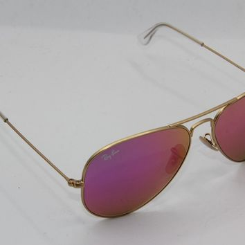 RAY-BAN RB 3025 AVIATOR LARGE METAL 112/4T GOLD FRAME MIRRORED SUNGLASSES 58-14