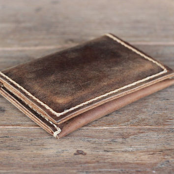 Leather Wallet --- Slim Rustic Minimalist Bifold Wallet  - JooJoobs Original Design - Mens Leather Wallets - Womens Leather Wallets