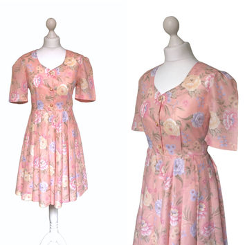 Floral Tea Dress | 70s 80s | Pink Dress | Vintage Dress | Retro Summer Style