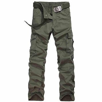 Casual Cotton Military Cargo Pants For Men Loose Multi pocket Cargo