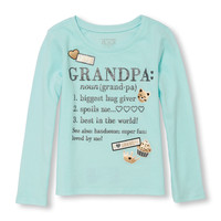 Toddler Girls Long Sleeve Glitter 'Grandpa' Definition Foil Graphic Tee | The Children's Place