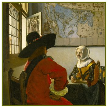 Officer and Laughing Girl by Johannes Vermeer Counted Cross Stitch or Counted Needlepoint Pattern