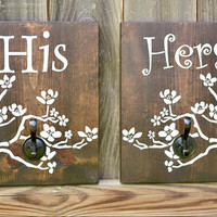 His & Hers Bath Decor Hangers - Wood Robe Hangers - Rustic Bath Decor - Wood Towel Holders - His Her Robe Holders - Rustic Bath Decor