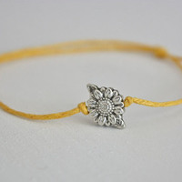 Flower Bracelet or Anklet, Silver Flower, Yellow Waxed Cotton Cord