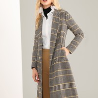 Notched Neck Plaid coat