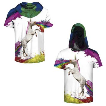 Graffiti Rainbow Unicorn 3d Print Hoody Tees Skateboarding Hoodie T-shirts Colorful Horse Running Male Hooded Tops Short Sleeve
