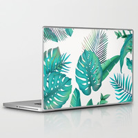 Tropical leafs pattern Laptop & iPad Skin by printapix
