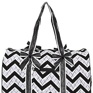 Belvah Black & White Chevron Quilted Cotton Duffle Bag - 20.5-in