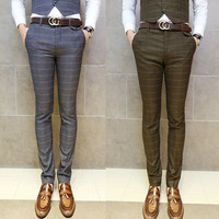 Skinny Fit Checkered Style Suit Pants