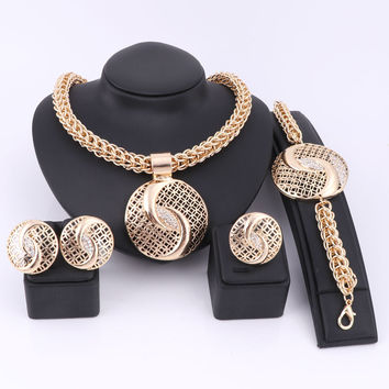 Handmade Dubai Gold Color Jewelry Sets Over Gild Fashion Big Nigerian Wedding Bridal Bijoux  African Costume Jewelry Sets