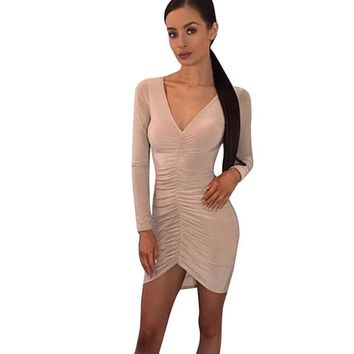 Women Sexy Sheath Dress Folded Long Sleeves V-neck Solid Slim Irregular Mini Dress vestidos Party Dresses
