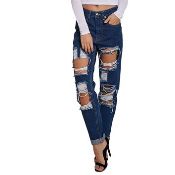 Blue high waist ripped jeans for women hipster frayed cropped  slim fit hollow skinny camisa robin pencil Denim pant