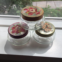 Vintage Glass Vanity Jars, Metal Floral Lid, Small Jar with Flowers, set of 3