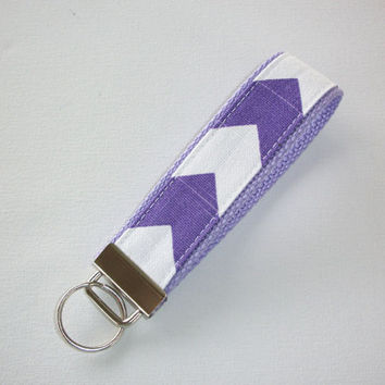 Key FOB / KeyChain / Wristlet  - Purple Chevron on lavender  - Zig Zag zigzag
