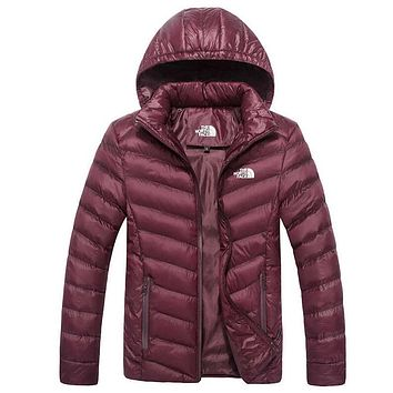 The North Face Fashion Print Unisex Lover's Sports Cotton Hoodie Coat Windbreaker Wine Red
