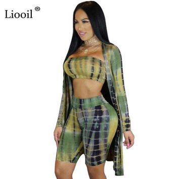 DKLW8 Liooil 3 Pieces Rompers Womens Jumpsuit Gradient Print Long Sleeve Strapless Playsuit High Waist Bodycon Sexy Romper Overalls